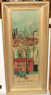 Maurice Utrillo Market Scene Old Color Large Framed Lithograph