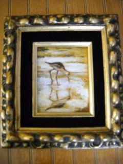 Oil Painting M Storm Mary Ann Storm Sea Bird Velvet Mat Gold Frame