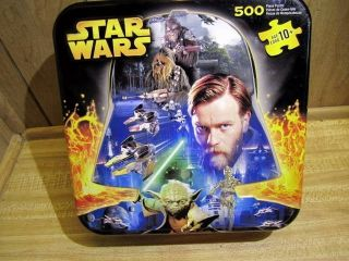 Star Wars 500 PC Puzzle MB Puzzle in Tin Box Double Sided Two Pictures