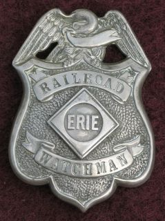 Erie Railroad Police Badge 1920s Watchman RR Police