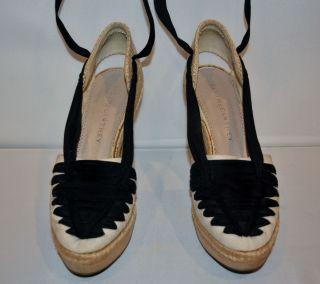 Stella McCartney Woven Grosgrain Ribbon Canvas Wooden Platform Size 39