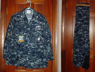 Navy Blue Digital Camouflage Maternity Working Uniform
