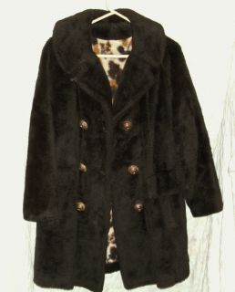 Vintage Montgomery Ward Brown Faux Fur Coat Large Button Front