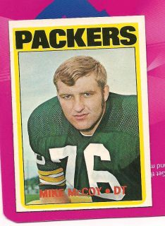 Mike McCoy Green Bay Packers Notre Dame Fighting Irish 1972 Topps Card