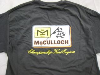 Go Kart McCulloch Chainsaw BLACK T  Shirt Championship Kart Engines