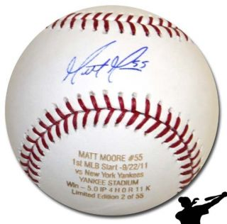 Matt Moore Signed 1st MLB Start vs Yankees Baseball Ball   Tampa Bay