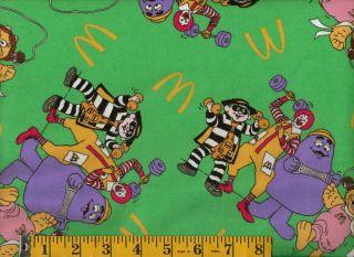 Ronald McDonald Grimace Birdie Hamburglar Flannel Quilting Fabric 165