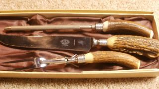 VINTAGE MEAT CARVING SET3 Piece Knife marked JERNBOLAGET ESKILSTUNA