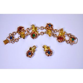 McClelland Barclay Signed Art Deco 1940s Bracelet Earrings Vintage