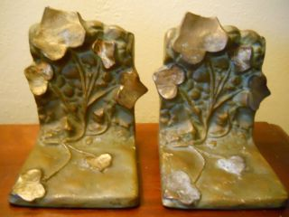 ANTIQUE SIGNED MCCLELLAND BARCLAY BRONZE IVY VINE BOOKENDS GREAT