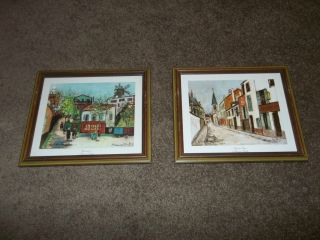 MAURICE UTRILLO LITHO PRINT CANVAS EGLISE DE STRINS MONTMARTRE FRAMED