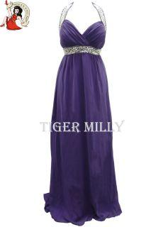 Ladies Chiffon Jewel Cocktail Evening Maxi Party Dress Purple