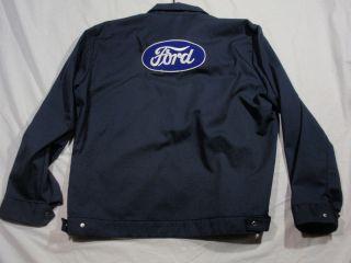 VTG 60s Ford Plant Mechanic Work Wear Jacket Mens Large Blue TALON