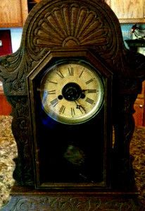 Antique 1882 Patent Stamped Ansonia Mantle Shelf Clock Wood and Brass