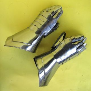 Medieval Brass Gauntlet Pair Armor Gloves LARP   MEDIEVAL STEEL GLOVES