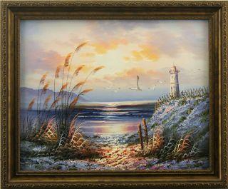 Sunset Beach Lighthouse Seagull Art Framed Oil Painting