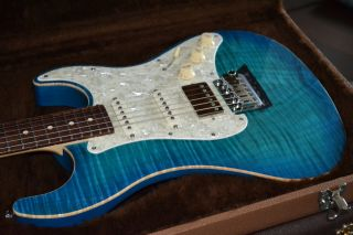 BRAND NEW MELANCON CUSTOM ARTIST MODEL   AAAAA FLAME TOP   BLUE BURST