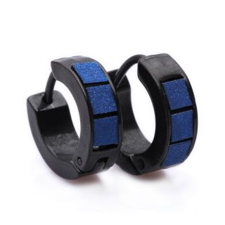 Blue Black Stainless Steel Stud Hoop Mens Earrings E150