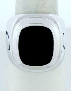 Mens 14k White Gold Large Black Onyx Initial C Ring