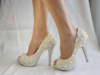 Menbur Dune Crystal and Pearl Wedding Shoes UK4 5 6 7 8