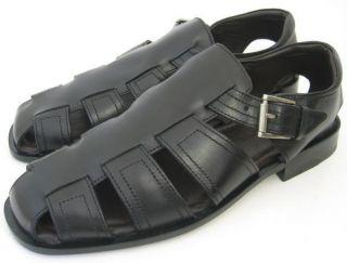 Murphy Mens Shoes Black Leather Meacham Fisherman Sandals 15 1681 10 M