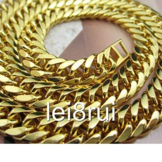 Mens 18K Yellow Gold Filled GF Necklace 18 0 Curb Chain Link 8mm
