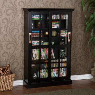 MEDIA STORAGE Black Window Pane Sliding Glass Doors Cabinet CD DVD VHS