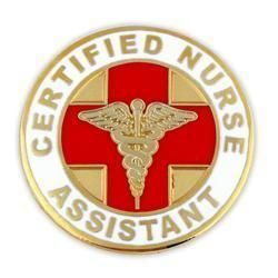 Nursing Assistant Round Gold Caduceus Red Medical Badge Pin