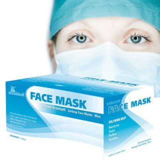 50 Medical Exam Earloop Face Mask – Blue –Surgical Respirator