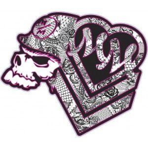 Metal Mulisha 6 Inch Maiden Sticker Lace Hearts Skull Girls Pink Black