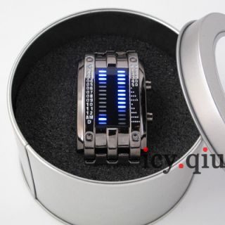 Digital Watch Blue LED Watch Metal Band Boys Mans Gift Black P8