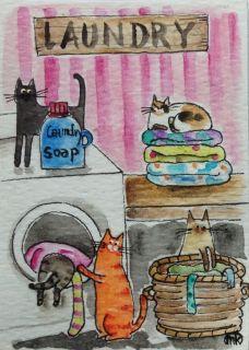 Cat Laundry Room Folk Art Watercolor Pen ACEO Original Painting