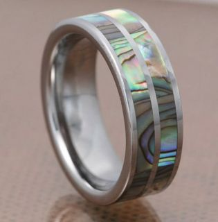 Carbide Duo Abalone Shell Strips Inlay Mens Wedding Ring
