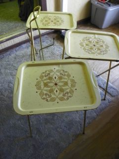 Vintage Metal TV Trays with Stand