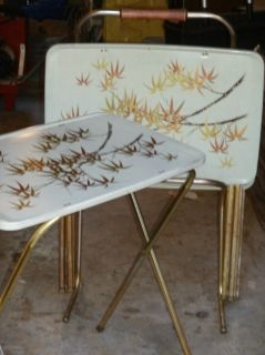 Vintage Metal TV Trays Set of 4 with Rolling Rack Holder Asian Bamboo