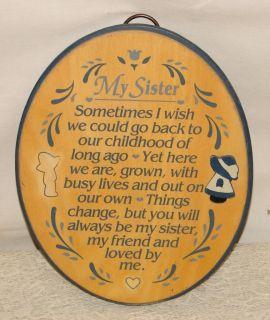 Vintage Dexsa Handmade Mexico Sisters Poem Plaque