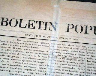 RARE Sante FE New Mexico Territory 1892 Newspaper El Boletin Popular