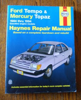 REPAIR MANUAL FORD TEMPO & MERCURY TOPAZ 1984 1994 Gas engine models