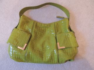 Michael Kors Green Patent Leather Croc Handbag Purse Super Cute
