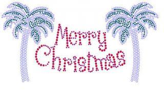 Christmas Rhinestone Shirt Merry Christmas Palm Trees