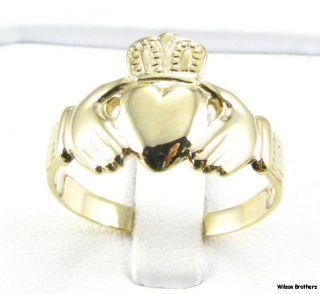 Claddagh Irish Mens Wedding Band Ring 14k Yellow Gold
