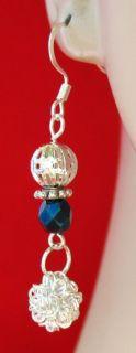 Silver Mesh Ball Charm Crystal Earrings Handmade Jewelry Women