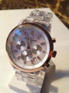 MICHAEL KORS CHRONOGRAPH ROSE GOLD BEZEL CLEAR BAND LADIES WATCH