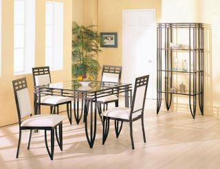 Matrix Square Black Metal Dining Table Set w 4 Chairs