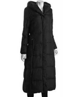 Michael Kors Womens Black Long Quilted Pillow Collar Hooded Down Coat