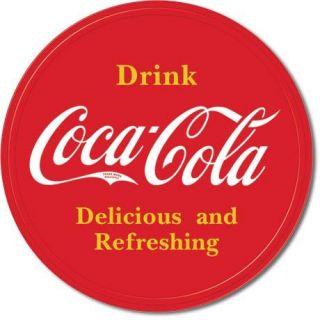 Cola ROUND TIN SIGN Red COKE Vtg Button Logo metal wall decor ad 1658