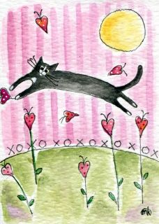 tuxedo cat pink heart valentine folk art watercolor ACEO original