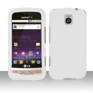 LG Optimus M C MS690 Metro Pcs Hard Case Snap on Phone Cover White