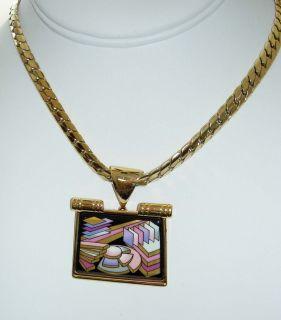 MICHAELA FREY Contemporary Modern Art 24K Enamel Pendant Chunky Chain