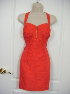 BEBE Dress Womens Large 12 Red Sexy Ruched Gold Zipper Club Cocktail